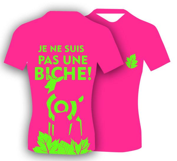 T-shirt fluo humoristique, pour le trail running femme. Fabriqué en Savoie, France. Cadeau sympa pour les trailers, les runners!