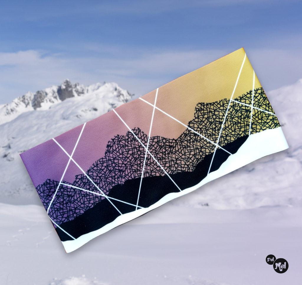 Bandeau hiver Pelmelcreation montagne. Confectionné en France, Savoie.