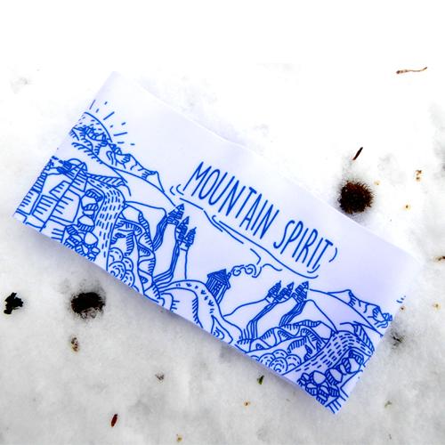Bandeau sport trail running ski motif montagne, fabriqué en Savoie, France